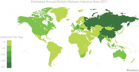 Estimated mobile malware infection rates globally