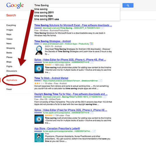 """Google offers """"Application"""" search choice"""