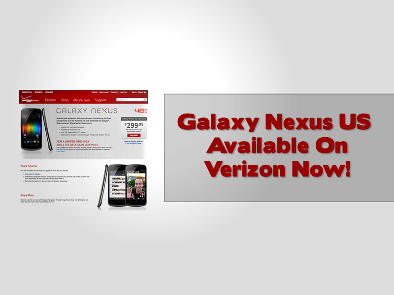 Galaxy Nexus US Available On Verizon