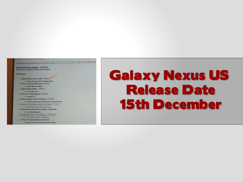 Galaxy Nexus US Release Date 15th December