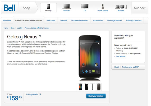 Samsung Galaxy Nexus Bell Canada