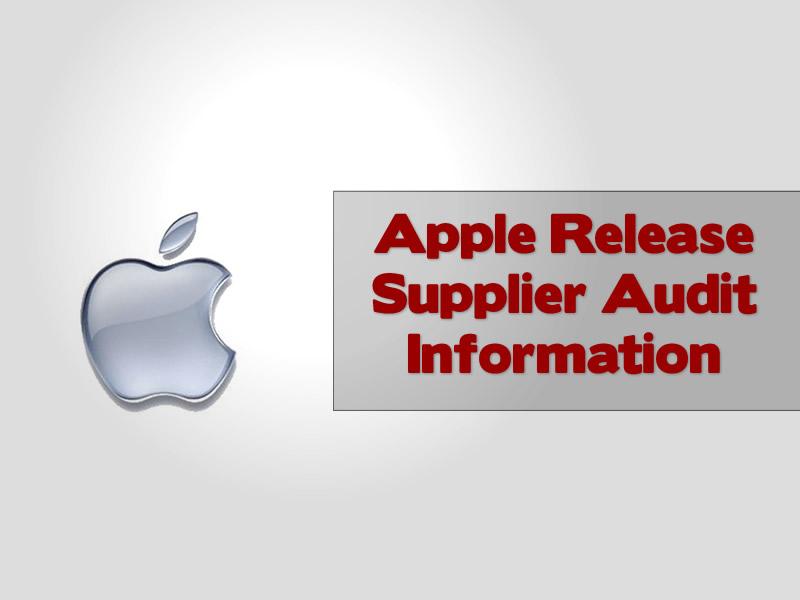 Apple Release Supplier Audit Information