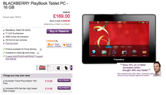 Blackberry Playbook Reduced In UK