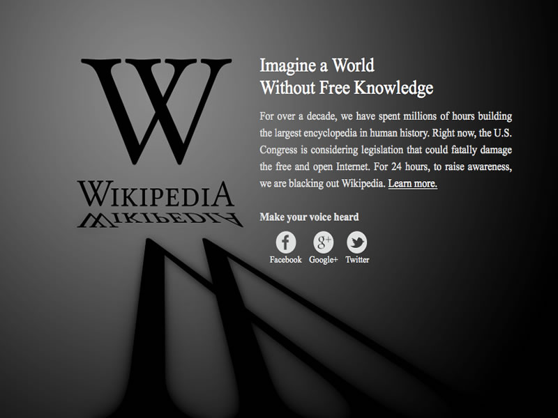 Wikipedia Goes Black