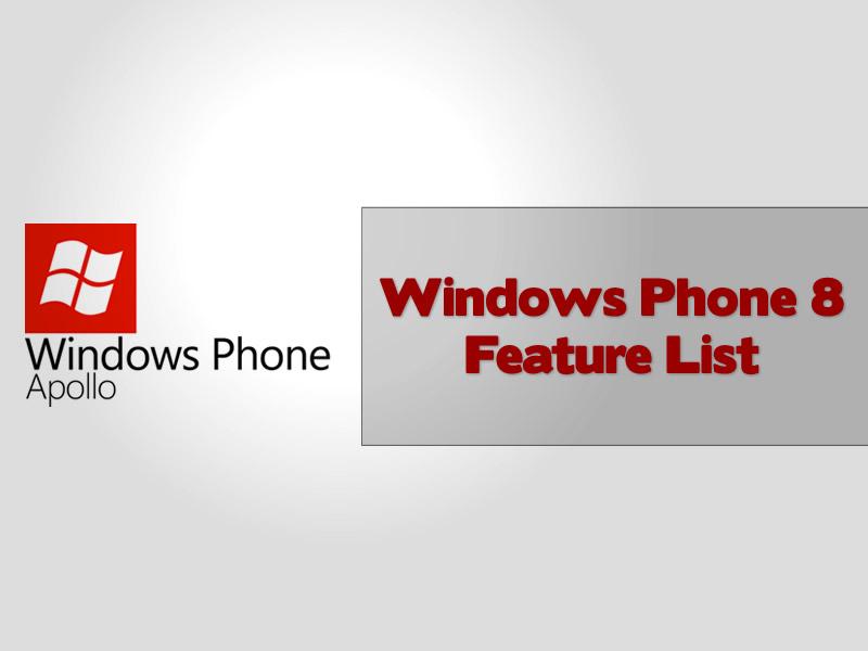 Windows Phone 8 Feature List